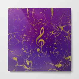Golden Grunge  Musical Treble Clef  on purple Metal Print