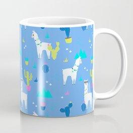 Desert Llamas on Blue Coffee Mug