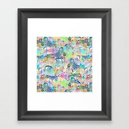Rainbow Zebra Print Framed Art Print