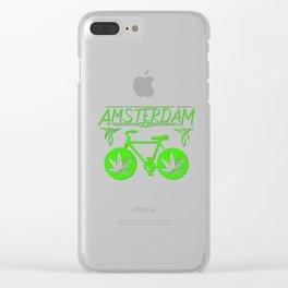 Amsterdam Hemp bicycle art Clear iPhone Case