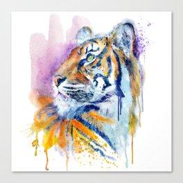 Young Tiger Watercolor Portrait Canvas Print