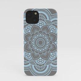 Mandala Flower Gray & Baby Blue iPhone Case
