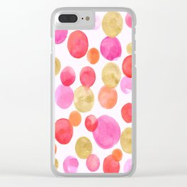 Shimmering Pink & Gold Bubbles Clear iPhone Case
