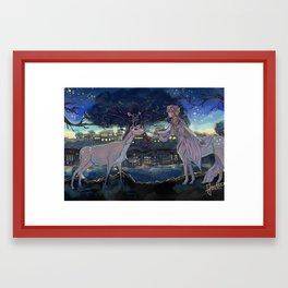 Deers in the Night Framed Art Print