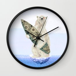 Polar bear & Surf (black) Wall Clock