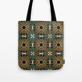 Art Deco Flowers in Brown and Teal Tote Bag