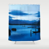 buddhism Shower Curtains featuring BLUE VIETNAMESE MEDITATION  by CAPTAINSILVA