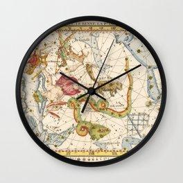 Vintage Print - J Flamsteed - Atlas Celeste (1776) - Cassiopea, Cepheus, Ursa Minor & Draco Wall Clock