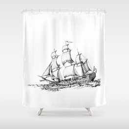 sailing ship . Home decor Graphicdesign Shower Curtain