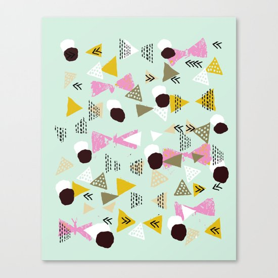 Ralea - abstract design triangle geometric circle print texture dots mid century modern graphic  Canvas Print
