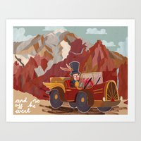 arnold Art Prints featuring Arnold drives by Bex Bourne