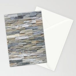 Gray Slate Stone Brick Texture Faux Wall Stationery Cards