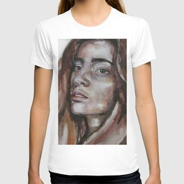 art work, watercolor portrait, beautiful face model with green eyes, original T-shirt
