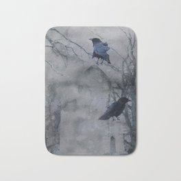 Crows In A Gothic Gray Wash Bath Mat