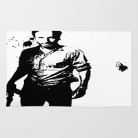 rick grimes Area & Throw Rugs featuring Rick Grimes by Black And White Store