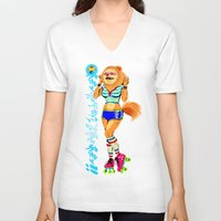 pomeranian V-neck T-shirts featuring Pomeranian Rock Dogs - Roller Bitch by Butcher Billy