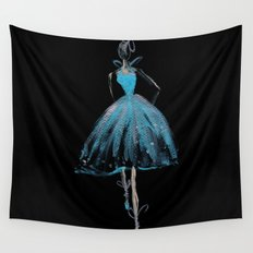 Blue and Light Haute Couture Fashion Illustration Wall Tapestry