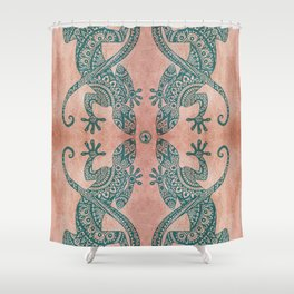 Bohemian tribal lizard pattern in teal and terracotta tones Shower Curtain