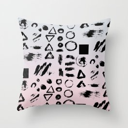 Blush pink gray black paint brushstrokes shapes gradient Throw Pillow