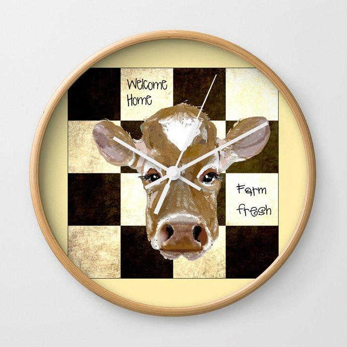 39b9bba1142e Farmhouse Cow, Welcome Home Farm Fresh Wall Clock by karencox | Society6