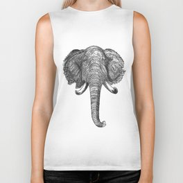 Vintage Elephant Head Illustration (1872) Biker Tank