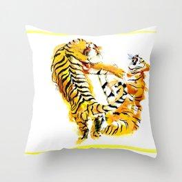 Tiger Fight Throw Pillow