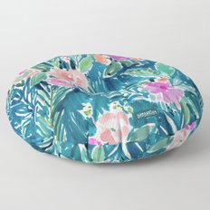 NAVY PARADISE FLORAL Tropical Hibiscus Palm Pattern Floor Pillow
