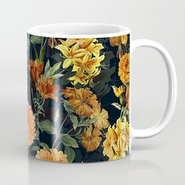 Vintage & Shabby Chic - Autumnal Flower Pattern On Blue Coffee Mug