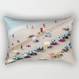 AERIAL VIEW OF PARASOLS AND PEOPLE NEAR BEACH Rectangular Pillow