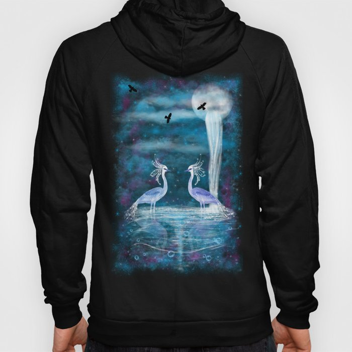 Mystical scene with two herons and waterfall from a planet Hoody