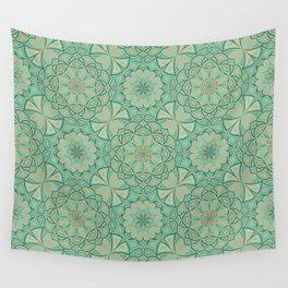 Aqua Golden Mandala Wall Tapestry