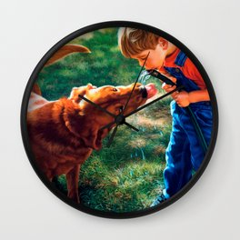 A Boy and his Dog Water Hose Thirst Colorful Wall Clock