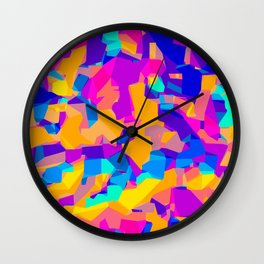 pink purple blue orange and yellow geometric painting abstract background Wall Clock