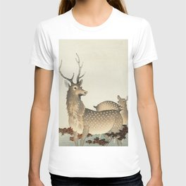 Ohara Koson, Deer Couple In The Field - Vintage Japanese Woodblock Print T-shirt