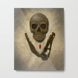 Impermanence - Velociraptor and Human Skull Metal Print