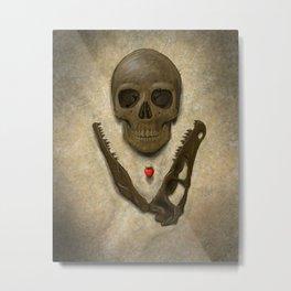 Impermanence - Velociraptor and Human Skull Metal Print