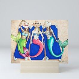 Sunbathing Mermaids Mini Art Print