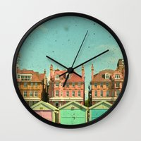 cassia beck Wall Clocks featuring Promenade by Cassia Beck