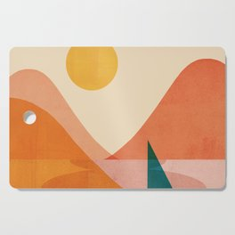 Abstraction_Lake_Sunset Cutting Board