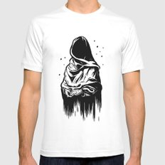 Time (Black and White) White MEDIUM Mens Fitted Tee