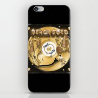 black and gold iPhone & iPod Skins featuring Black Gold by Nikola Kolobaric