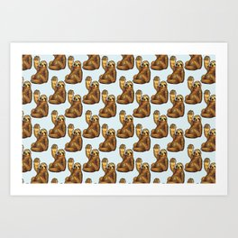 sloth eating pizza pattern Art Print