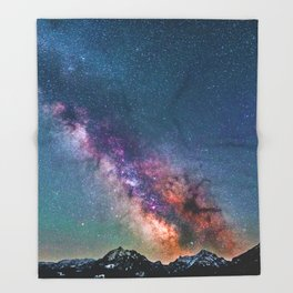 Pastel Galaxy of Mountains (Color) Throw Blanket