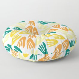 Papier Découpé Modern Abstract Cutout Pattern in Jade Green, Orange, Yellow, and White Floor Pillow
