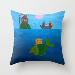 Ozzi and Lulu Fishing Throw Pillow