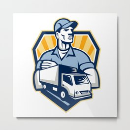 Removal Man Delivery Truck Crest Retro Metal Print