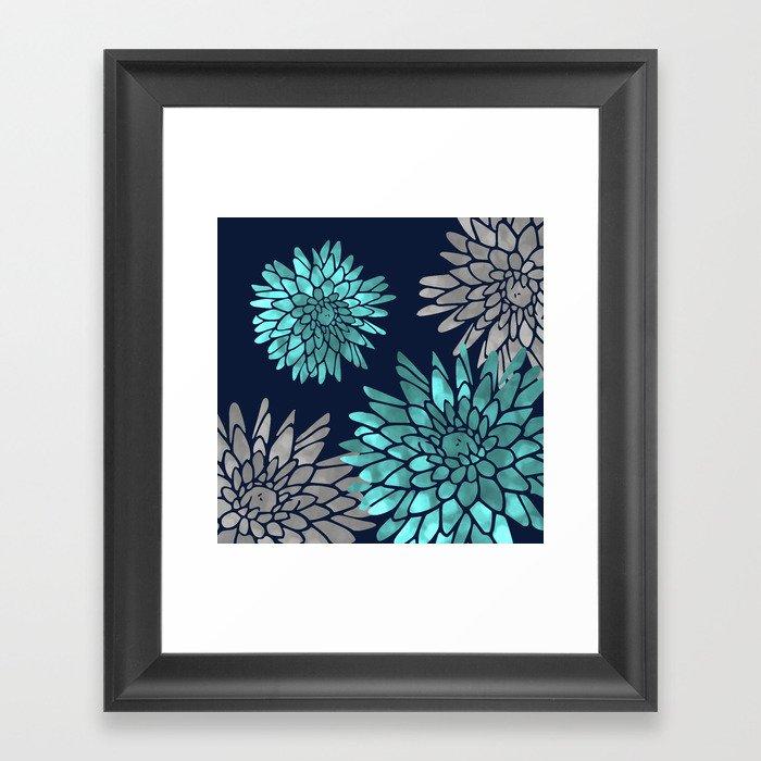 Floral Chrysanthemum Modern Navy Aqua Gerahmter Kunstdruck