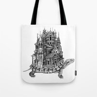 discworld Tote Bags featuring Turtle City by Meridith Rodgman
