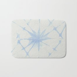 Shibori Starburst Sky Blue on Lunar Gray Bath Mat