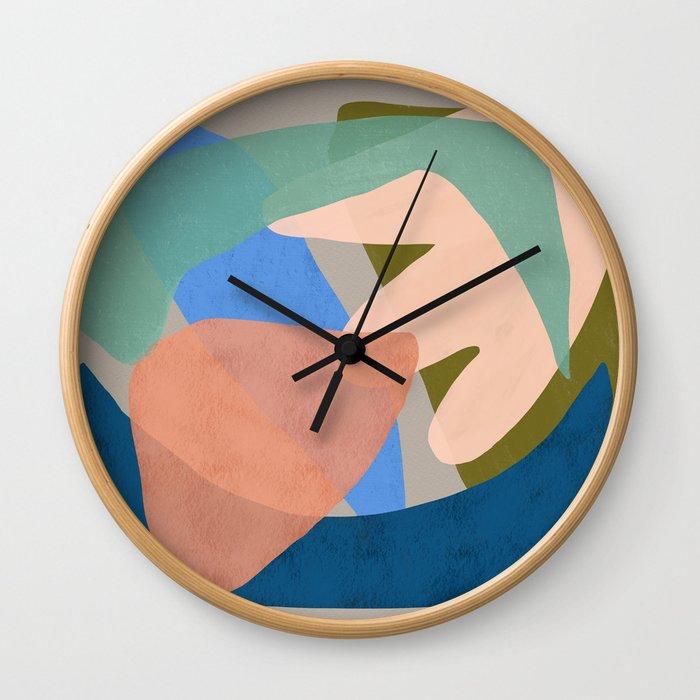 Shapes and Layers no.30 - Large Organic Shapes Blue Pink Green Gray Wall Clock